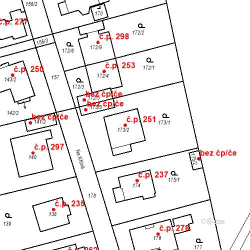 Katastrální mapa Stavební objekt Újezd u Průhonic 251, Praha