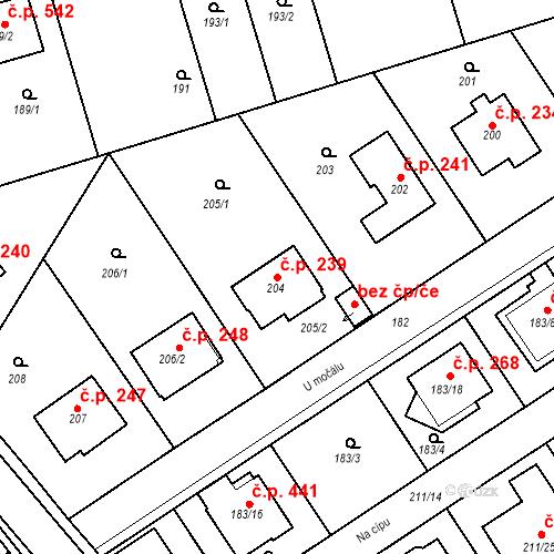 Katastrální mapa Stavební objekt Újezd u Průhonic 239, Praha