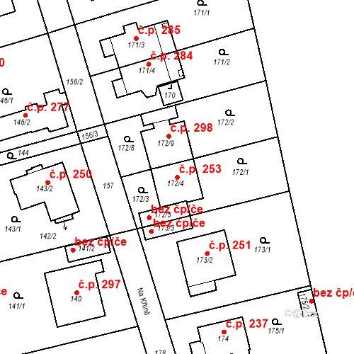 Katastrální mapa Stavební objekt Újezd u Průhonic 253, Praha