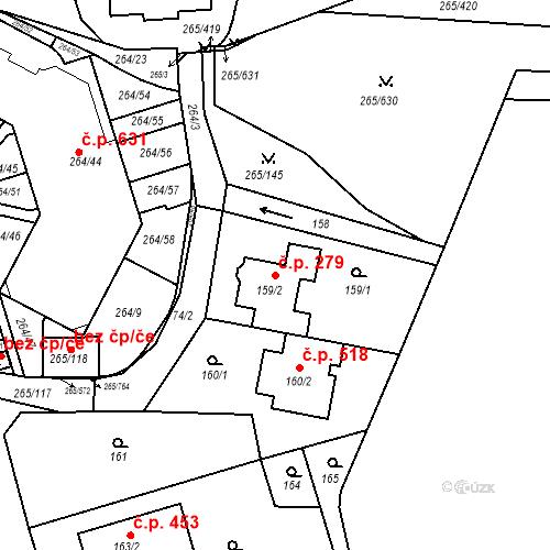 Katastrální mapa Stavební objekt Újezd u Průhonic 279, Praha