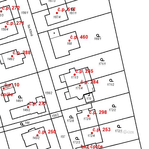 Katastrální mapa Stavební objekt Újezd u Průhonic 285, Praha