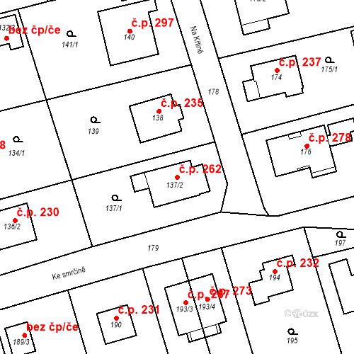 Katastrální mapa Stavební objekt Újezd u Průhonic 262, Praha
