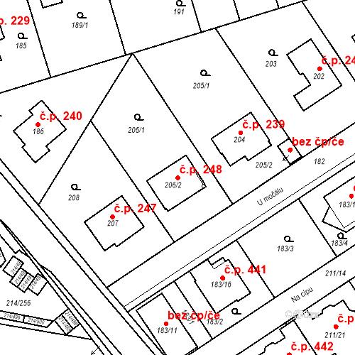 Katastrální mapa Stavební objekt Újezd u Průhonic 248, Praha