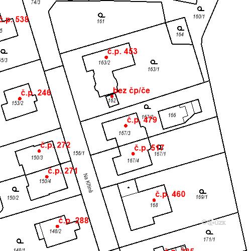 Katastrální mapa Stavební objekt Újezd u Průhonic 479, Praha