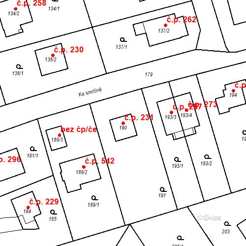 Katastrální mapa Stavební objekt Újezd u Průhonic 231, Praha