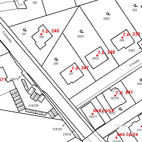 Katastrální mapa Stavební objekt Újezd u Průhonic 247, Praha