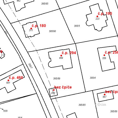 Katastrální mapa Stavební objekt Zdiměřice 294, Jesenice