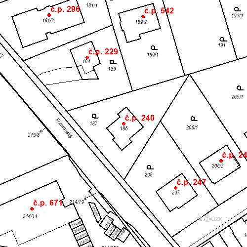 Katastrální mapa Stavební objekt Újezd u Průhonic 240, Praha