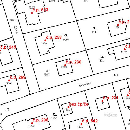 Katastrální mapa Stavební objekt Újezd u Průhonic 230, Praha