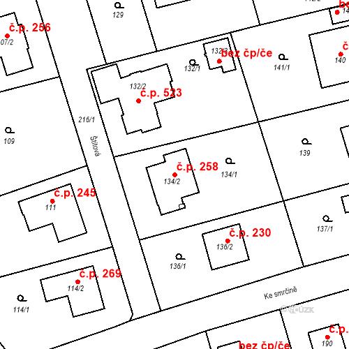 Katastrální mapa Stavební objekt Újezd u Průhonic 258, Praha