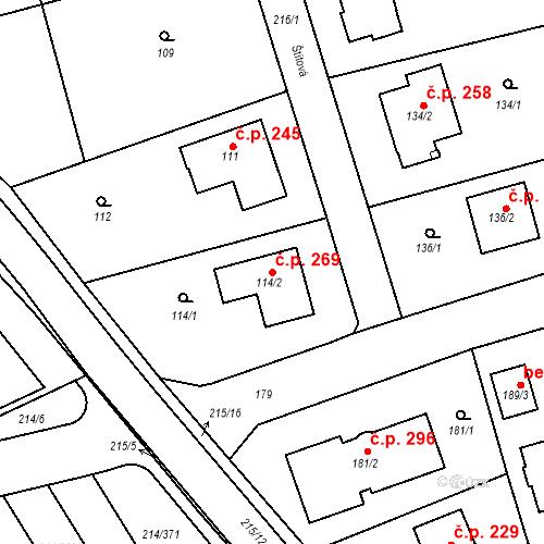 Katastrální mapa Stavební objekt Újezd u Průhonic 269, Praha