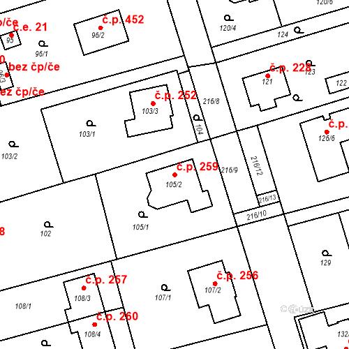 Katastrální mapa Stavební objekt Újezd u Průhonic 259, Praha