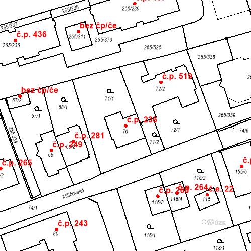 Katastrální mapa Stavební objekt Újezd u Průhonic 236, Praha