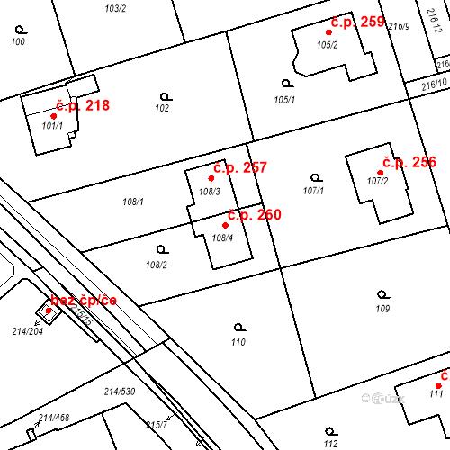 Katastrální mapa Stavební objekt Újezd u Průhonic 260, Praha