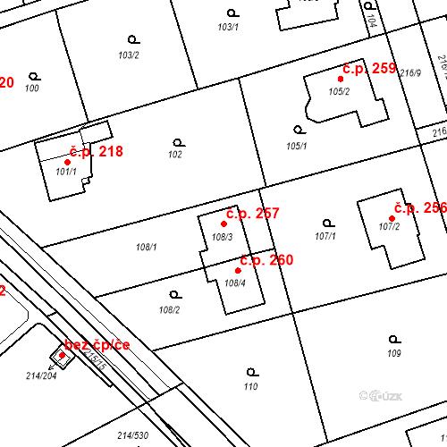 Katastrální mapa Stavební objekt Újezd u Průhonic 257, Praha