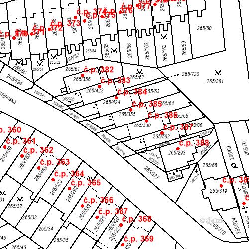 Katastrální mapa Stavební objekt Újezd u Průhonic 385, Praha