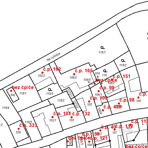 Katastrální mapa Stavební objekt Nové Hrady 165, Nové Hrady