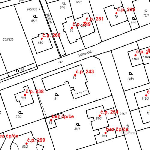 Katastrální mapa Stavební objekt Újezd u Průhonic 243, Praha