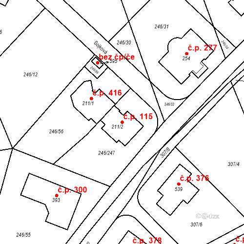 Katastrální mapa Stavební objekt Zdiměřice 115, Jesenice