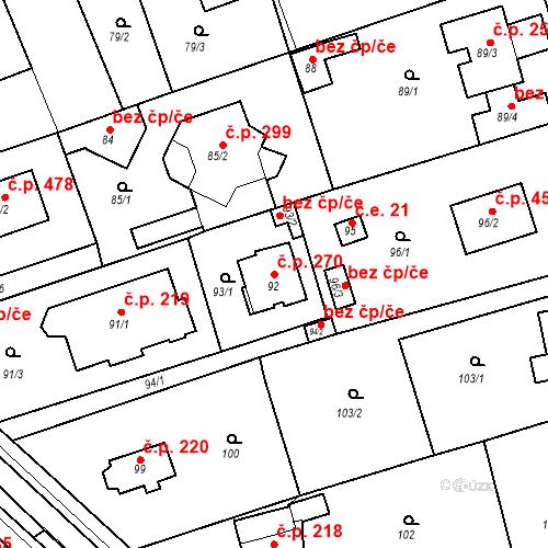 Katastrální mapa Stavební objekt Újezd u Průhonic 270, Praha