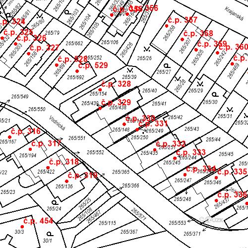 Katastrální mapa Stavební objekt Újezd u Průhonic 330, Praha