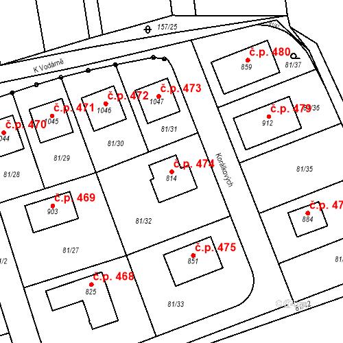 Katastrální mapa Stavební objekt Bašť 474, Bašť