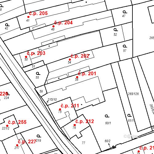 Katastrální mapa Stavební objekt Újezd u Průhonic 201, Praha