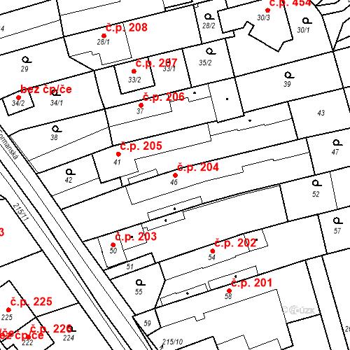 Katastrální mapa Stavební objekt Újezd u Průhonic 204, Praha