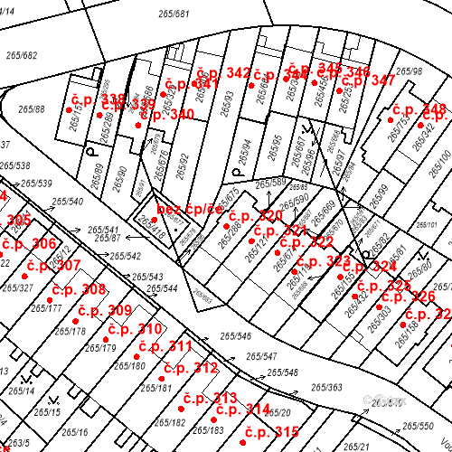 Katastrální mapa Stavební objekt Újezd u Průhonic 320, Praha