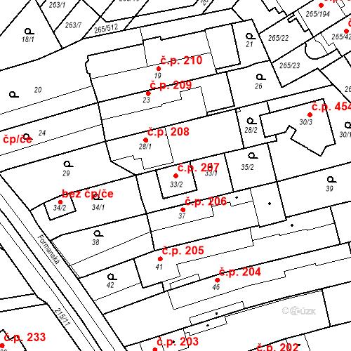 Katastrální mapa Stavební objekt Újezd u Průhonic 207, Praha