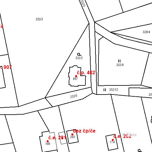 Katastrální mapa Stavební objekt Dolní Jirčany 482, Psáry