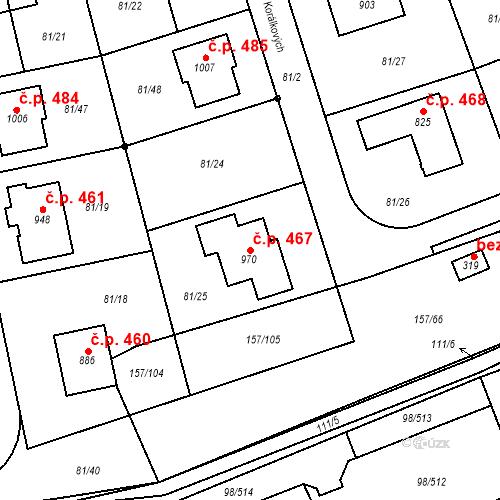 Katastrální mapa Stavební objekt Bašť 467, Bašť