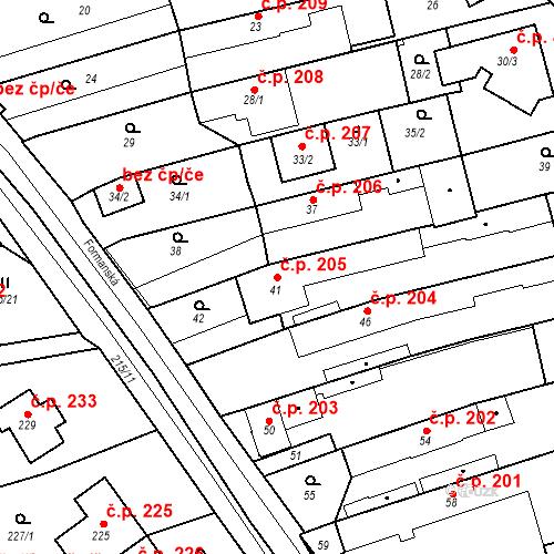 Katastrální mapa Stavební objekt Újezd u Průhonic 205, Praha