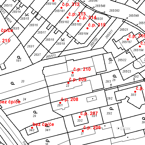 Katastrální mapa Stavební objekt Újezd u Průhonic 210, Praha