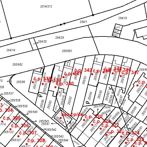 Katastrální mapa Stavební objekt Újezd u Průhonic 342, Praha
