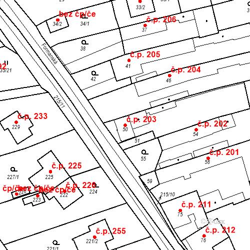 Katastrální mapa Stavební objekt Újezd u Průhonic 203, Praha