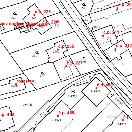 Katastrální mapa Stavební objekt Újezd u Průhonic 227, Praha