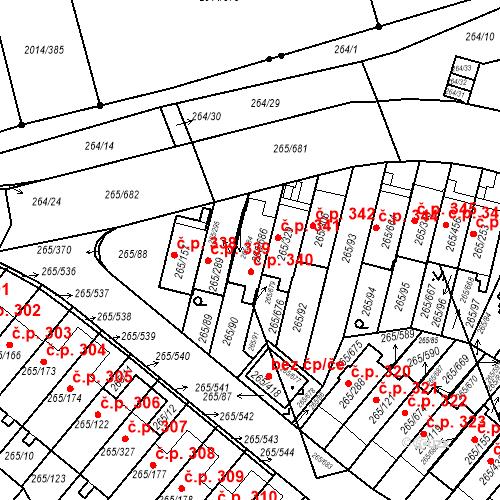 Katastrální mapa Stavební objekt Újezd u Průhonic 340, Praha
