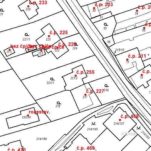 Katastrální mapa Stavební objekt Újezd u Průhonic 255, Praha