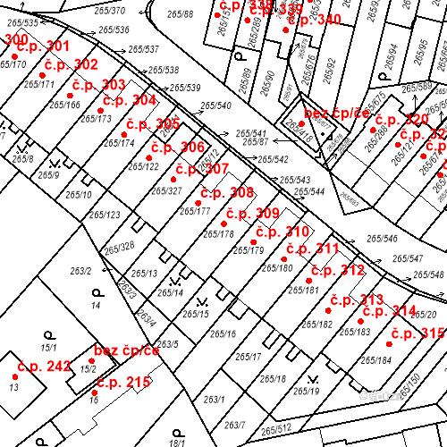Katastrální mapa Stavební objekt Újezd u Průhonic 309, Praha