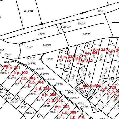 Katastrální mapa Stavební objekt Újezd u Průhonic 338, Praha