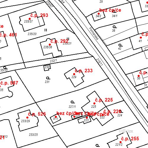 Katastrální mapa Stavební objekt Újezd u Průhonic 233, Praha