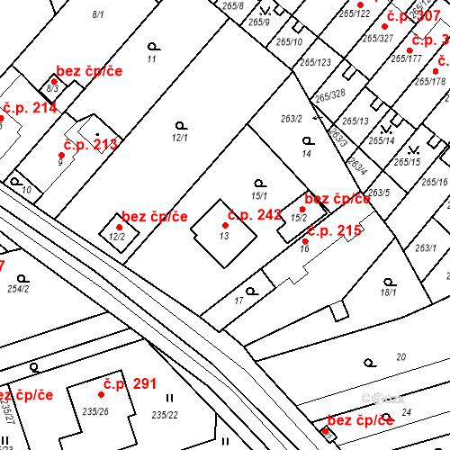 Katastrální mapa Stavební objekt Újezd u Průhonic 242, Praha
