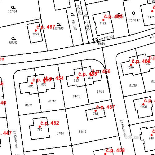 Katastrální mapa Stavební objekt Bašť 455, Bašť