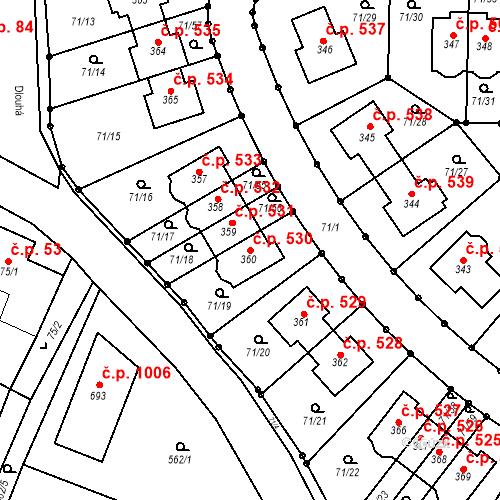 Katastrální mapa Stavební objekt Bašť 530, Bašť