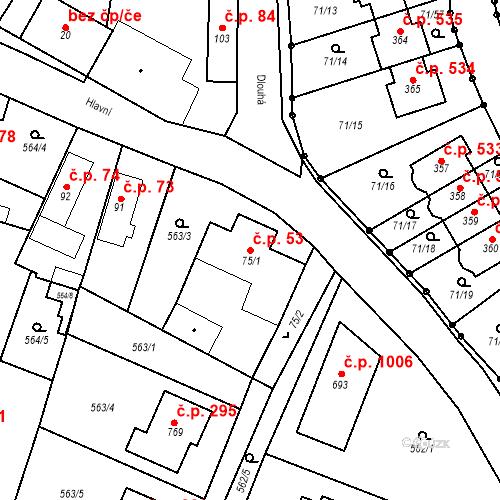 Katastrální mapa Stavební objekt Bašť 53, Bašť