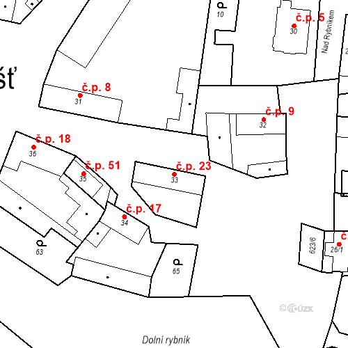 Katastrální mapa Stavební objekt Bašť 23, Bašť