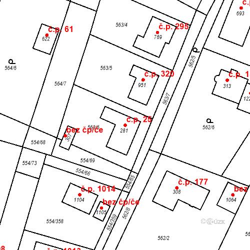 Katastrální mapa Stavební objekt Bašť 25, Bašť