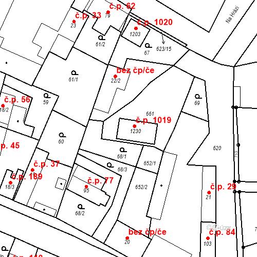 Katastrální mapa Stavební objekt Bašť 19, Bašť