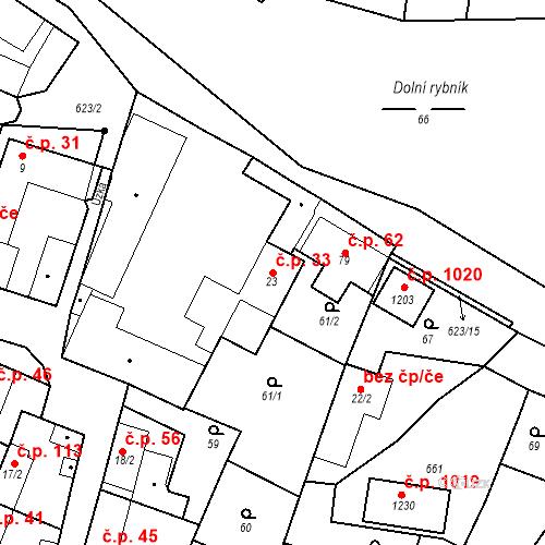 Katastrální mapa Stavební objekt Bašť 33, Bašť